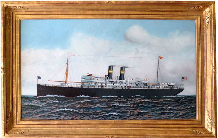 Oil painting of Steamer BRAZOS by Antonio Jacobsen