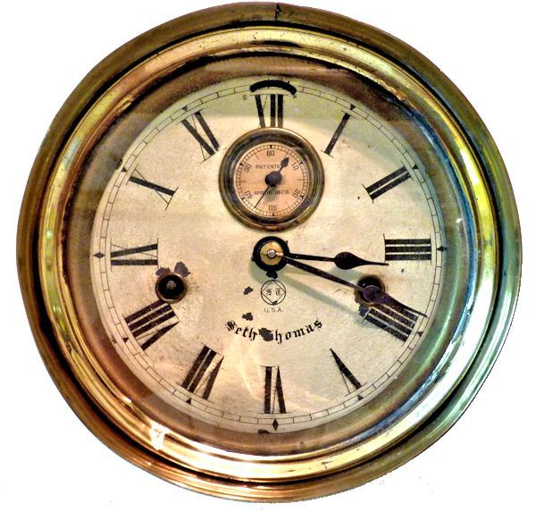 Face of clock showing recessed seconds dial