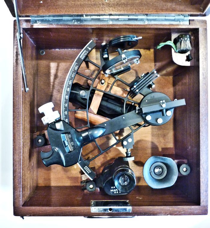 sextant                                     and accessories in case image