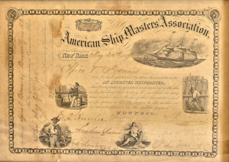 Unframed ship masters Certificate image