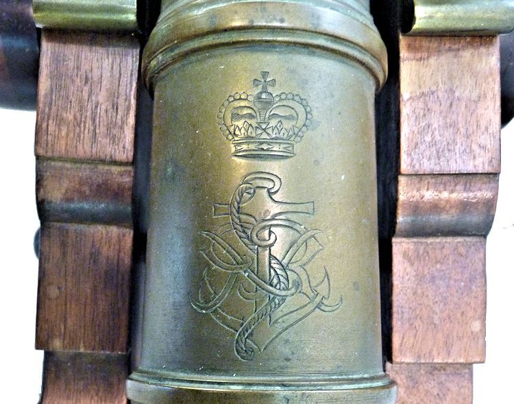 Stylized cartouche of fowled anchor with royal crown and initials image
