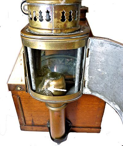 Dent binnacles lamp tower for candle showing remaing molten way image