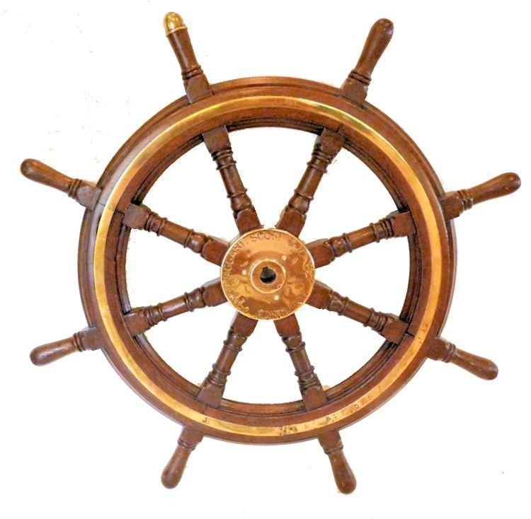 Royal Navy Mahogany and Brass Steering Wheel image'border=