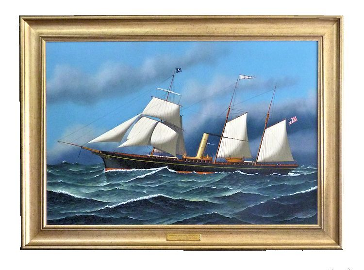 Framed ship portrait of sail and screw yacht ALVA image