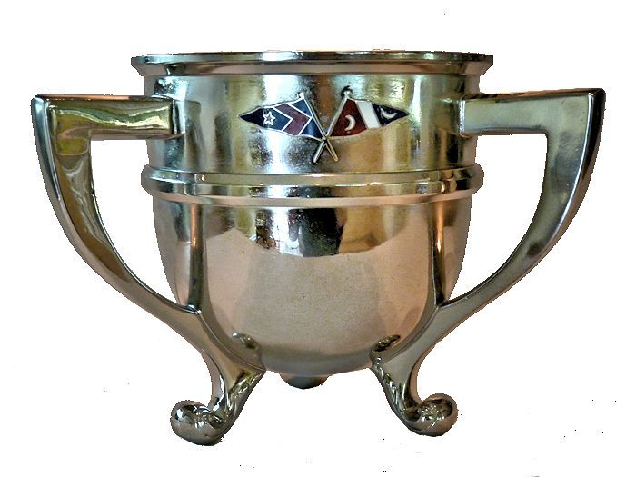 Front of trophy with crossed yacht club burgees image