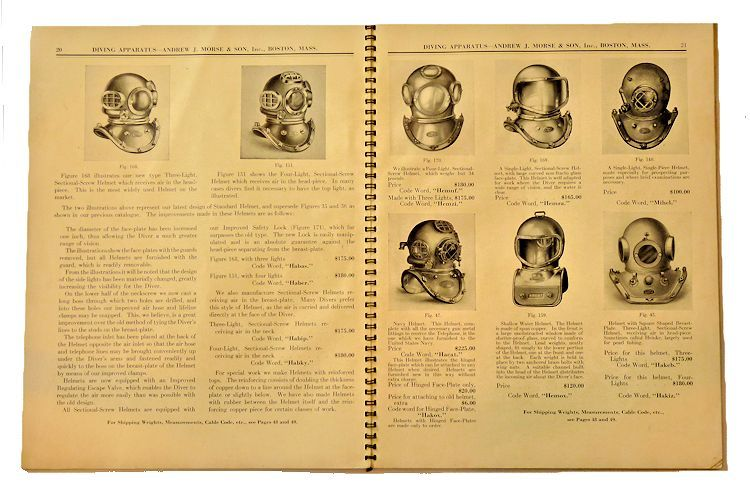 Two pages devoted to dive helmets models image