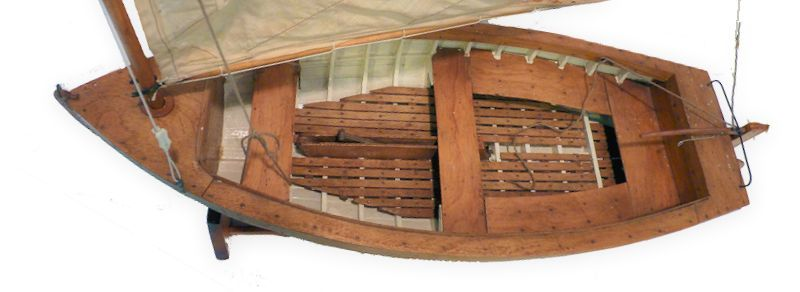 Overhead view of lapstrake dinghy model image