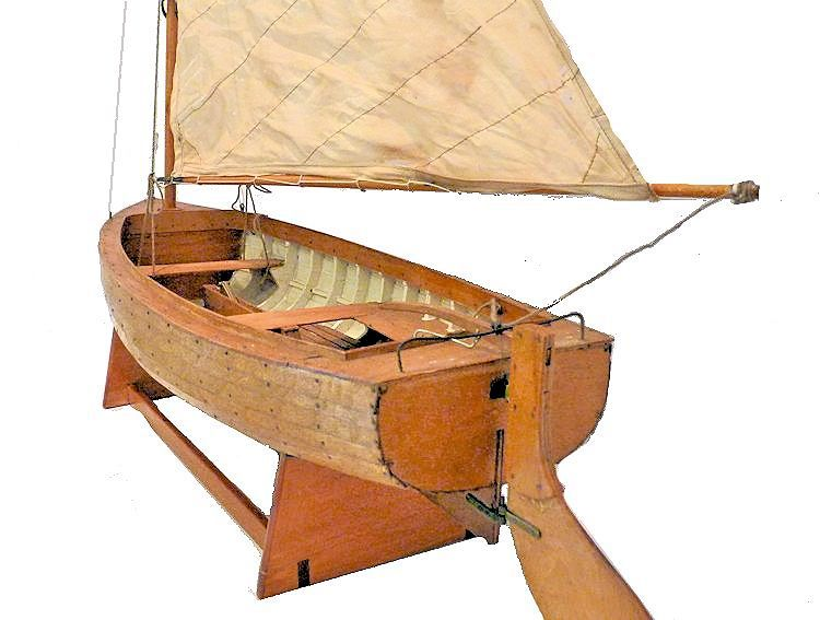 Stern view of lapstrake dinghy model image