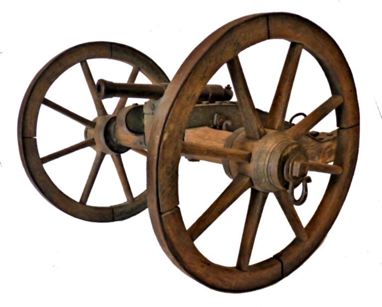 Left front side of Civil War cannon image