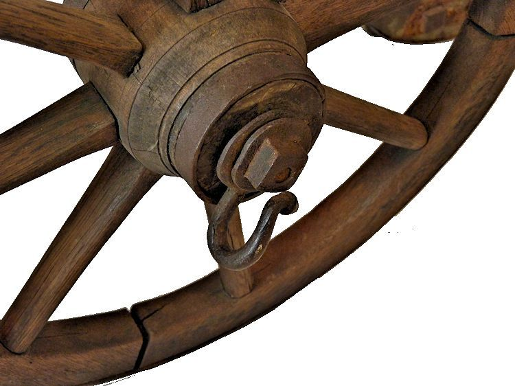 Picture of one of the wheels showing the linchpin image