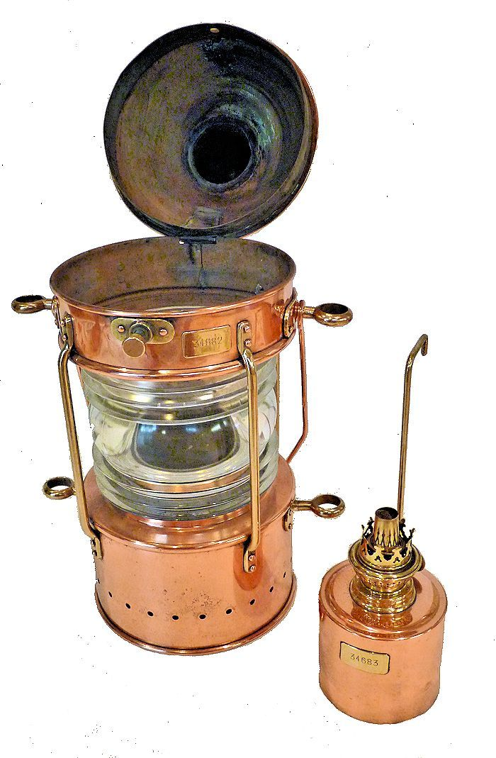 Peters-Bey lamp with burner alongside image