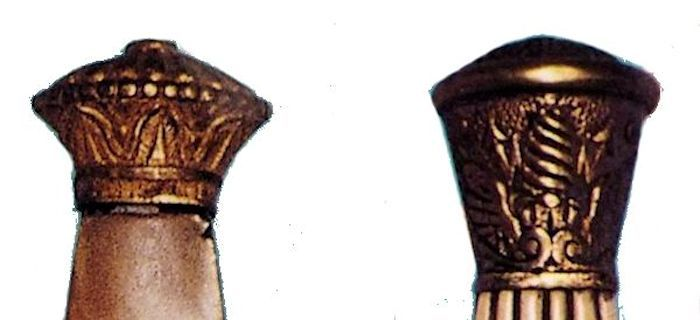 Two French dirk pommel caps from the 1st Empire as pictured by Lhoste image