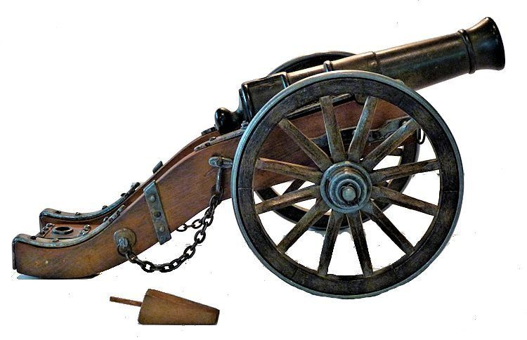 George I elevated cannon barrel on Ca 1694 field carriage image
