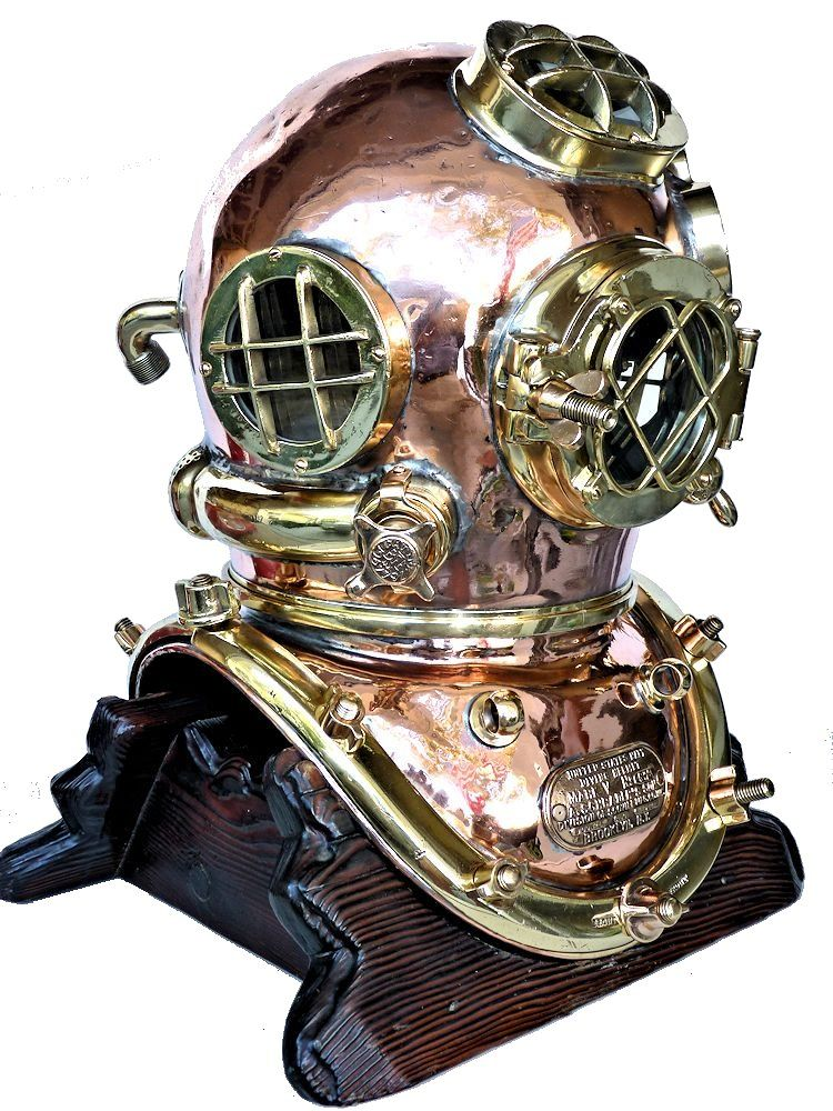 Partial rightside view of the 1942 Schrader Navy MK V dive helmet image