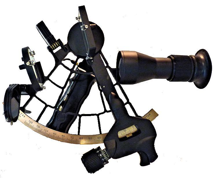 1984 Plath Navistar Classic sextant with 4 x 40 scope and Whole Horizon mirrior image