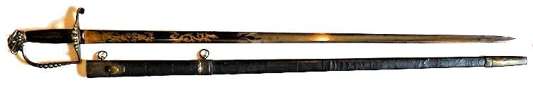 5 Ball Infantry Officer's spadroon shown over original scabbard image'></CENTER>