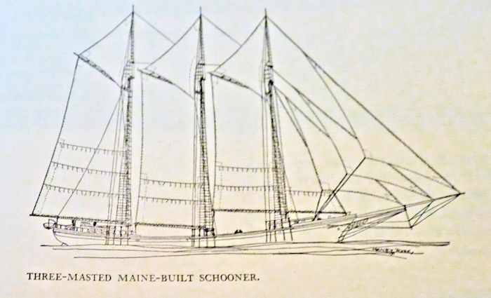 Drawing of three masted Maine schooner image