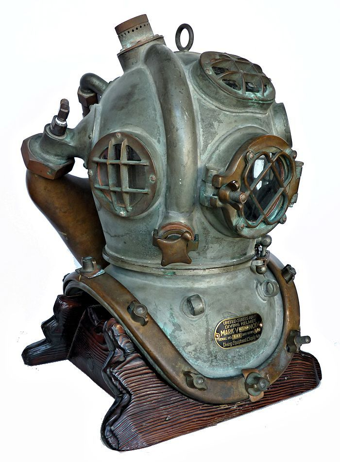 Three quarter right side view of 1972 Heliox dive helmet image