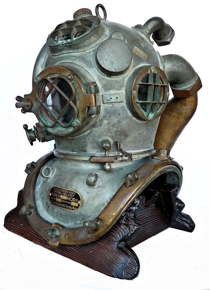 Three quarter left side view of 1972 Heliox dive helmet image