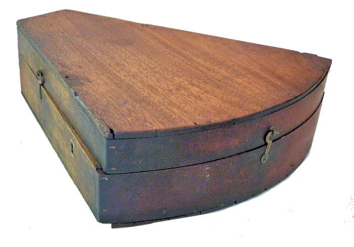 Closed sextant case showing finish is worn and replaced right                                     corner image