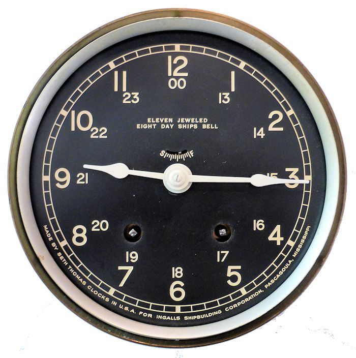 Face of 12/24 hour strng bell ship's clock image