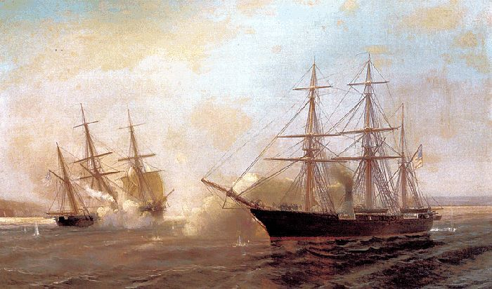 Painting of the battle between Kearsarge and Alabama image
