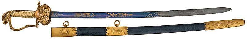 M1841 Naval Officers sword displayed over its scabbard image