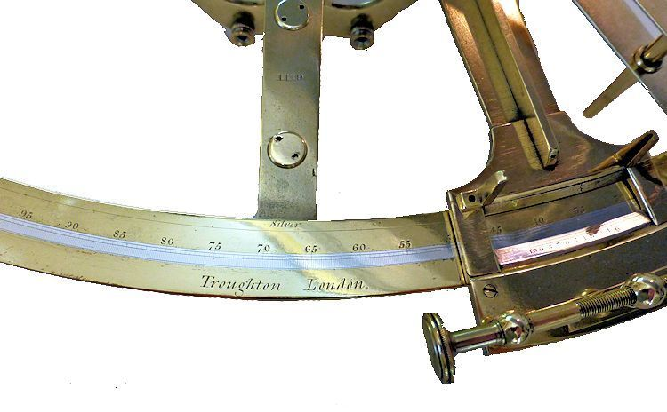 Close-up showing the maker's name and the serial number on the index arm image