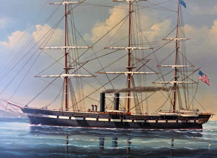 Close-up of ship portrait of sail and screw  Civil War Era Sloop of War image