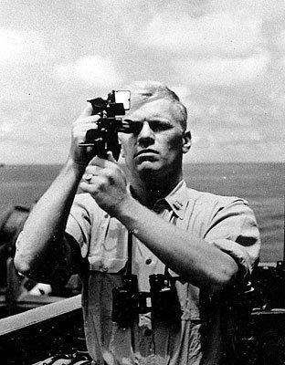 Picture of Gerald R. Ford taking a noon sight image
