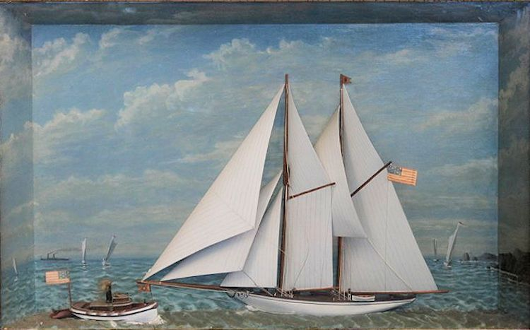 Unframed shadow box of the American schooner image
