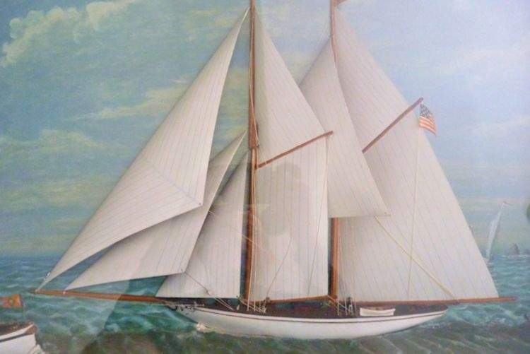 Close-up of the schooner yacht's hull image