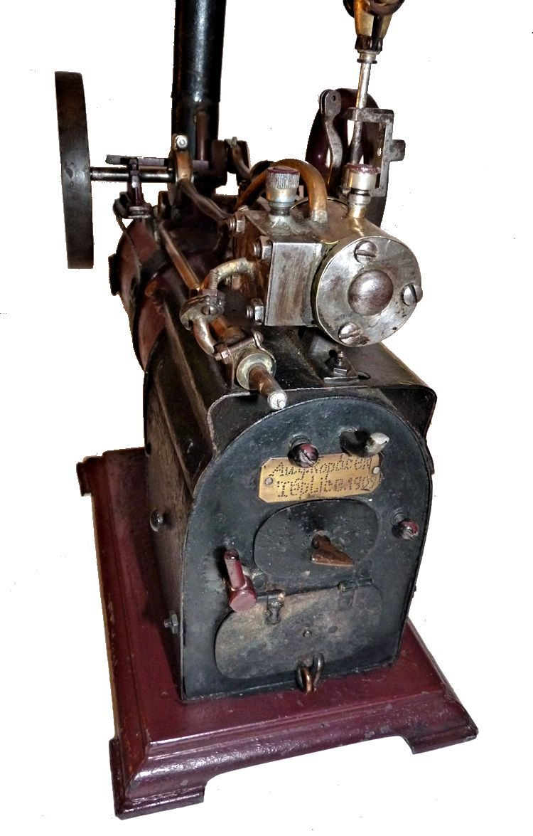 Coaling end of tall stack steam engine model image