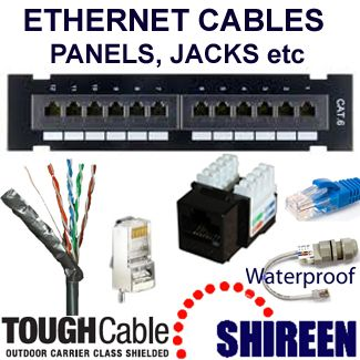 Ethernet cables, jacks and Panduit cable systems