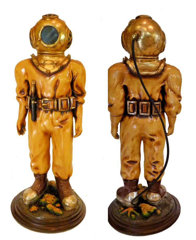 Hard hat diver statue showing back and front image