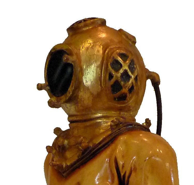 Close-up of the bonnet of the hard hat diver statue image