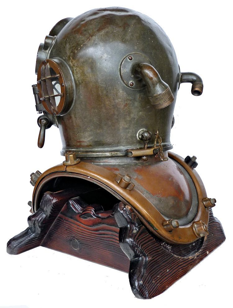 Three quarter left side view of back of DESCO MK V dive helmet image