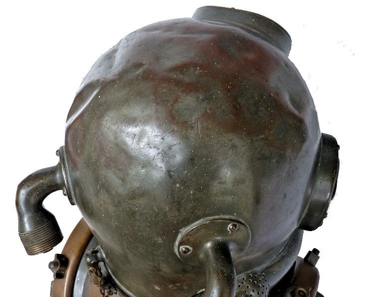 Top of 1945 DESCO MK V helmet showing more dents image