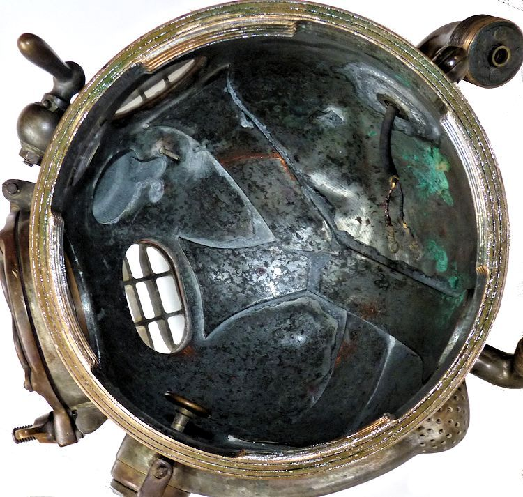 Inside of 1945 DESCO MK V dive helmet image
