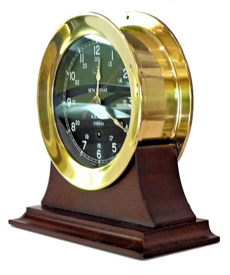Partial fron view of the USS Adhara 12/24 hour Seth Thomas clock image