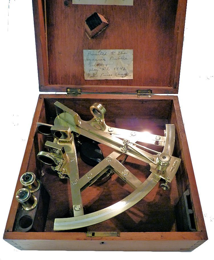 Double frame sextant housed in open case image