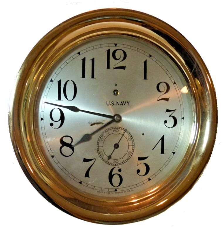 Important Seth Thomas large US Navy Command clock image