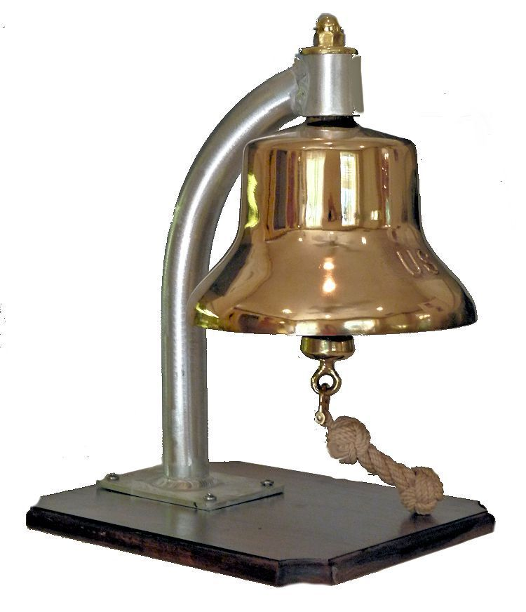Sideview of Vietnam Era Navy bell with new aluminium bracket image
