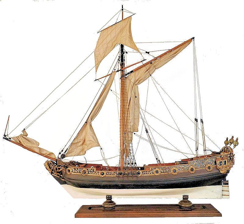 Portside of the royal cutter rigged ship model image