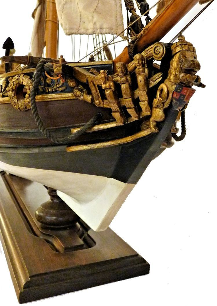 The bow of the vessel showing the detail of the crowned lion figurehead image