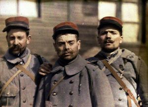 WW I French enlisted men wearing red top kepis image