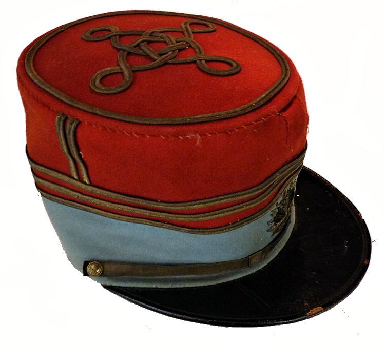 Partial rightside view of French cavalry officer's kepi image