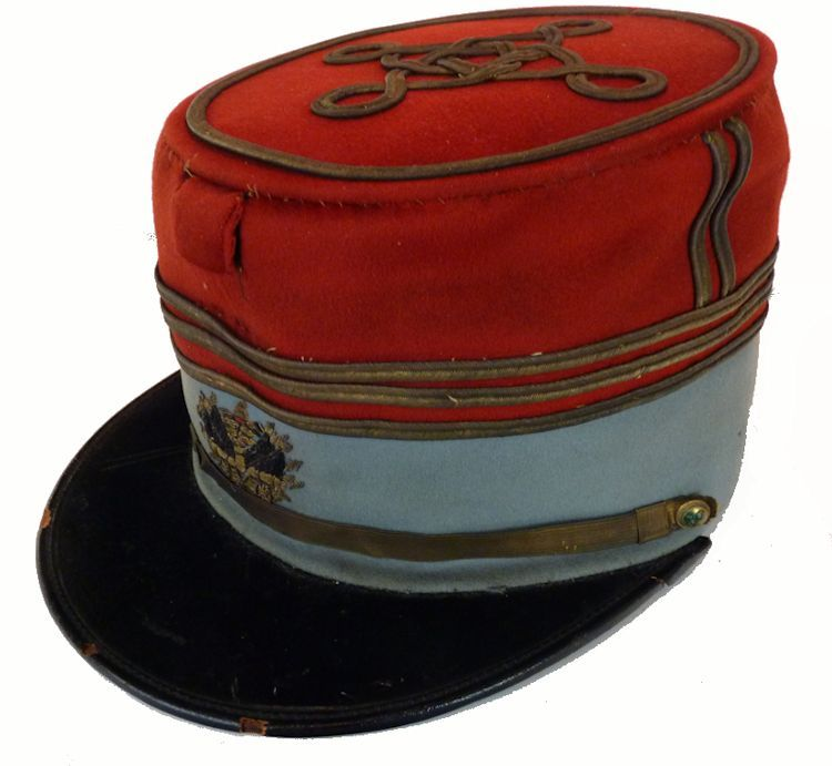 Partial leftside view of French cavalry officer's kepi image