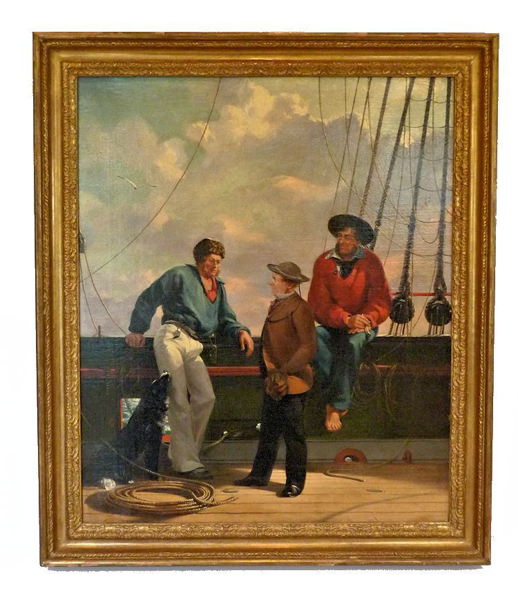 Framed painting of a trio of English seaman at the rail image