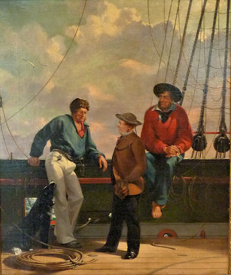 Unfamed painting of a trio of English seaman at the rail image